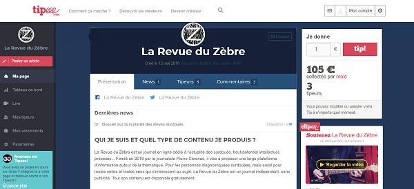 Cagnotte Tipeee de La Revue du Zèbre